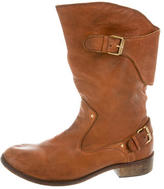 Diesel Leather Round-Toe Boots