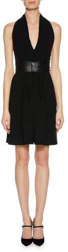 Giorgio Armani Deep-V Halter Sleeveless Silk Dress w/ Leather Harness