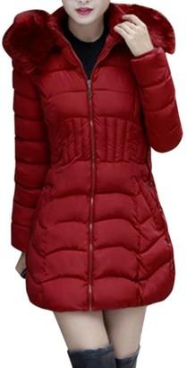HARRYSTORE Fashion Winter Womens Long Jacket Warm Cotton Slim Coat Parka Trench Outwear Fur Trim Hood (XXXXL