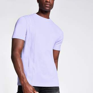 River Island Mens Lilac slim fit piped T-shirt