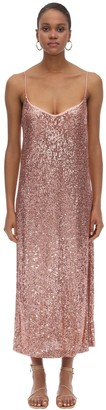 L'Autre Chose Sequined Stretch Slip Dress