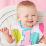 "Mud Pie 1st"" Birthday Girl Bib in Pink/White"