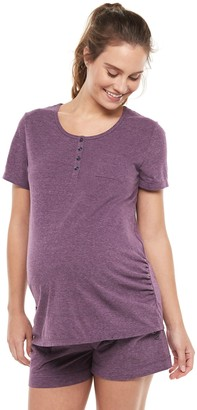 Cuddl Duds Maternity Pajamas: Essentials Cap-Sleeve Tee & Boxer Shorts Set