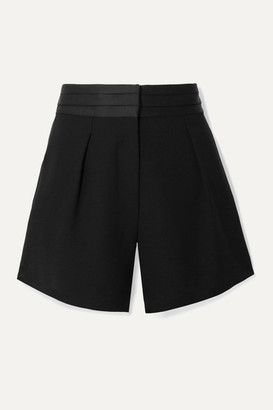 Frame Satin-trimmed Pleated Crepe Shorts