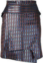 Carven striped metallic wrap skirt