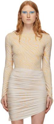 MAISIE WILEN Beige and Blue Patterned Bodysuit
