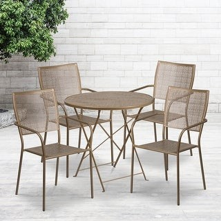 """Lancaster Home 30"""" Round Light Gray Indoor-Outdoor Steel Folding Patio Table Set with 4 Chairs"""