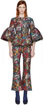 Marques Almeida Multicolor Jacquard Frill Sleeve Jacket