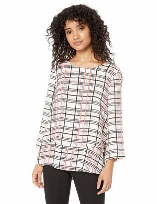 Chaus Women's 3/4 SLV Dble Layer Linear Grooves Blouse