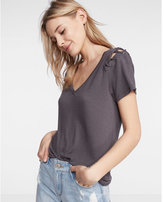 Express lace-up shoulder v-neck tee