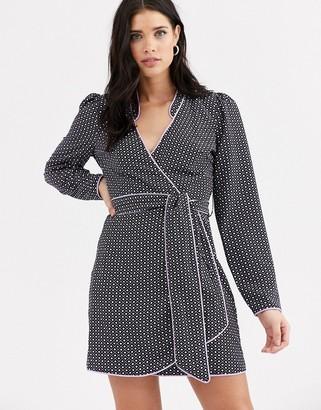 Fashion Union mandarin collar wrap dress with contrast piping