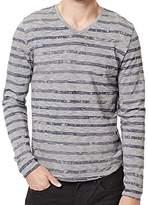 Buffalo David Bitton Men's Kastripe Long Sleeve Vneck Knit Shirt