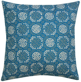 "Entryways Blue Batik Medallion Throw Pillow - 20""x20"""