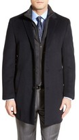 Hart Schaffner Marx Men's Kingman Modern Fit Wool Blend Coat With Removable Zipper Bib