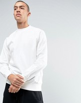 adidas Deluxe Knit Crew Neck Sweatshirt In White Bj9537