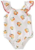 Kate Spade Ruffle-Trim Orange-Print Swimsuit, Multicolor, Size 12-24 Months