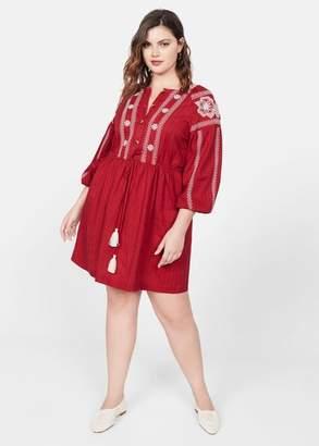 MANGO Embroidered detail dress