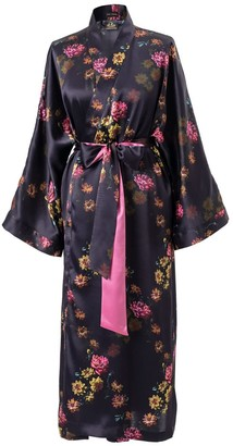 Castlebird Rose Long Kimono Robe Deep Purple