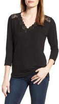 NYDJ Women's Lace Trim V-Neck Top