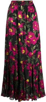 Alice + Olivia Eliza floral drawstring maxi-skirt