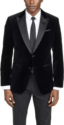 HUGO BOSS Velvet Dinner Jacket with Satin Peak Lapels