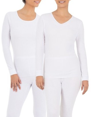 Fruit of the Loom Women's and Women's Plus Waffle Thermal Lounge Crew & V-Neck Top - 2 Pack