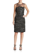Teri Jon Lace Illusion-Yoke Tweed Sheath Dress
