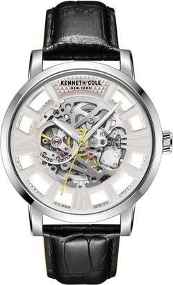 Kenneth Cole New York Men's Black Leather Skeleton Watch