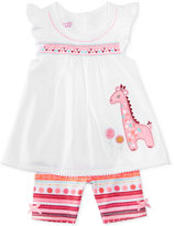 Nannette 2-Pc. Giraffe Cotton Top and Shorts Set, Baby Girls (0-24 months)