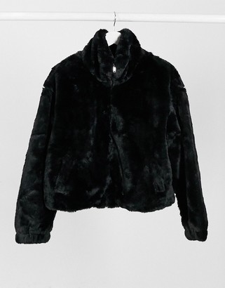 New Look stand neck faux fur bomber jacket in black