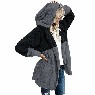 FNKDOR Womens Winter Warm Fluffy Fleece Hooded Pullover Oversized Draped Pockets Cardigan Coat Jacket Outwear Black