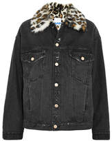 Sjyp Faux Fur-trimmed Distressed Denim Jacket - Black