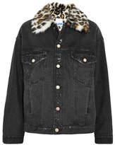 Sjyp Faux Fur-trimmed Distressed Denim Jacket