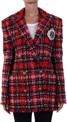 Balmain Tartan Tweed Over Jacket