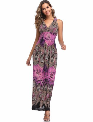 Yummy Bee Maxi Dress Plus Size Dresses Long Party Summer Casual Print Sleeveless (Red M = 8/10)