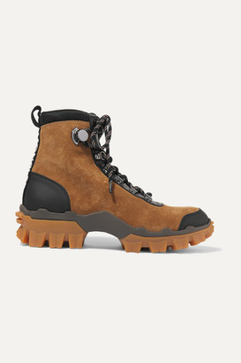 Moncler Helis Leather-trimmed Suede Ankle Boots - Tan