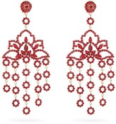 Etro Lotus Crystal-embellished Clip Earrings - Womens - Red