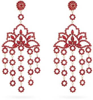 Etro Lotus Crystal-embellished Clip Earrings - Red