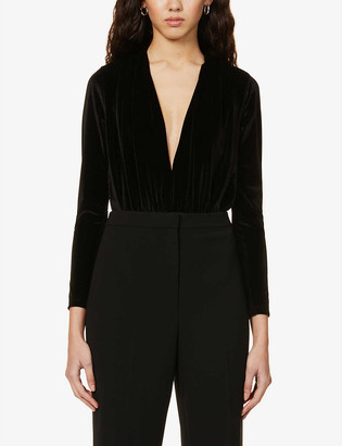 Reiss Rosalba plunged-neck velvet body