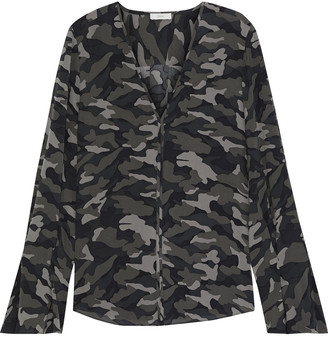 Joie Fluted Printed Georgette Blouse