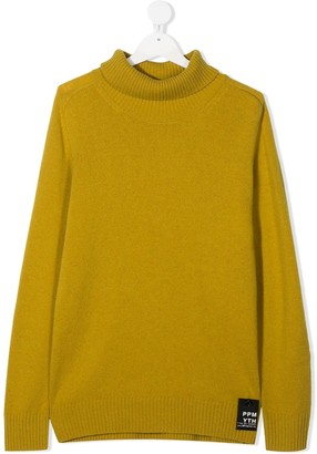 Paolo Pecora Kids TEEN logo patch roll neck jumper