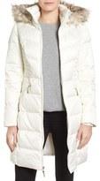 Ellen Tracy Women's Faux Fur Trim Matte Satin Down Coat