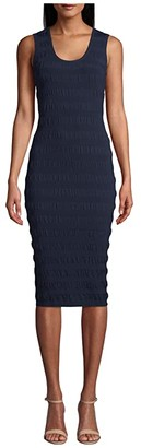 Nicole Miller Solid Puckered Knit Scoop Neck Dress (Navy) Women's Clothing