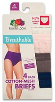 Fruit of the Loom Women's Breathable Cotton Briefs 4-Pack (Colors May Vary)
