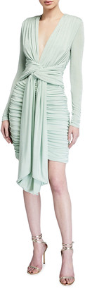 Misha Collection Paola Deep V-Neck Tie-Front Ruched Jersey Dress