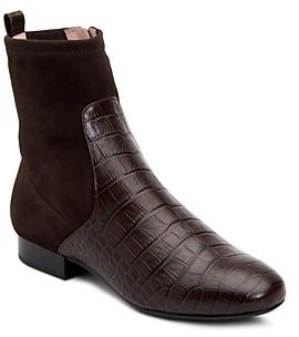 Taryn Rose Women's Floriana Suede & Crocodile-Embossed Leather Booties