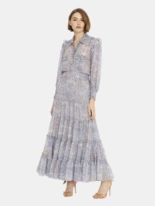 MISA Aydeniz Tie Waist Maxi Dress