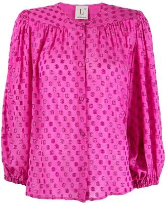 L'Autre Chose Embellished Button-Up Blouse