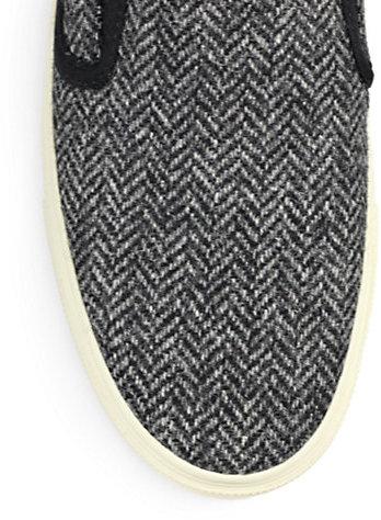 Saint Laurent Chevron-Print Tweed Skate Sneakers