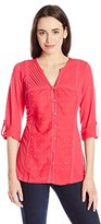 NY Collection Women's Long Sleeve Rolled Up To 3/4 Blouse